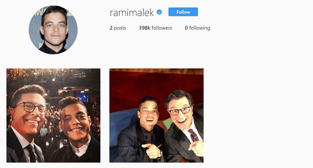Rami Malek Instagram Famous